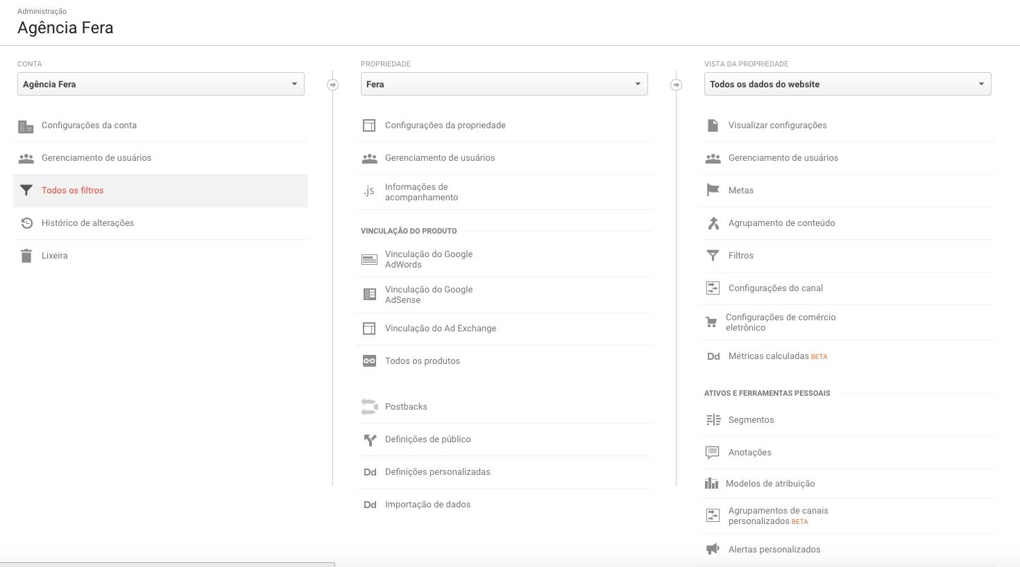 Acessando a conta do Google Analytics
