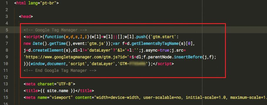 Adicionando código no site