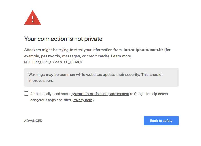 Certificado SSL - Tela de aviso do Chrome sobre site não seguro